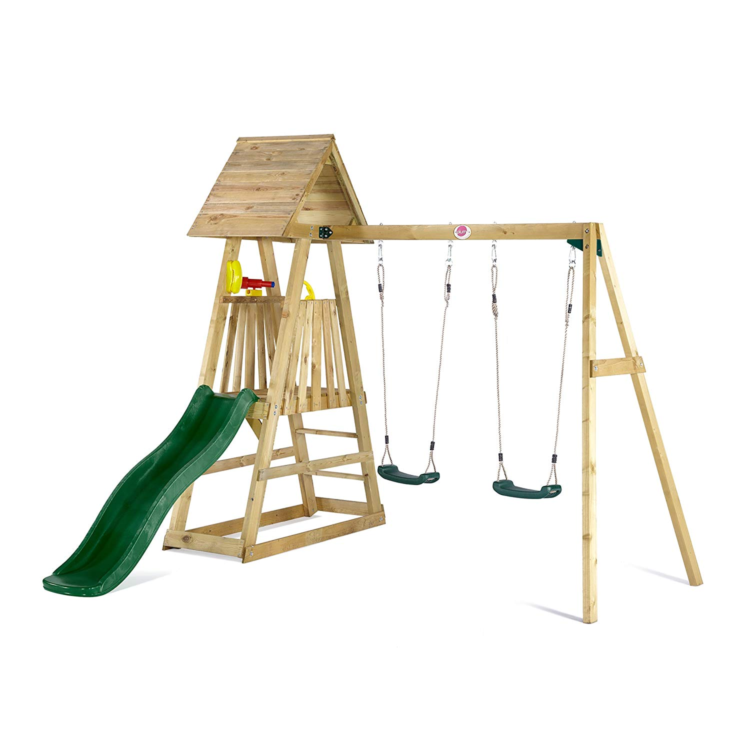 Plum Indri Wooden Climbing Frame Outdoor Play Centre With Double Swing And Slide
